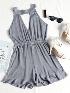Shop for Choker Ruffled Surplice Romper STONE BLUE: Jumpsuits & Rompers S at ZAFUL. Only $15.99 and free shipping!