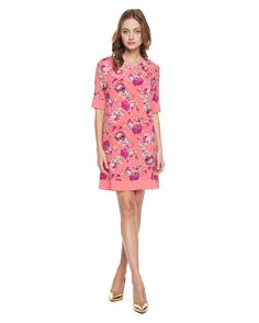 Lush Floral Silk Dress in winter coral lush