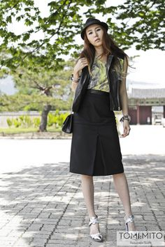 The beautiful Karen lee from TOMI:MITO blog wears the CRES. E DIM. SS13 leather jacket, the DIM. E CRES. SS13 yellow stone top and CRES. E DIM. FW13 black pencil skirt http://tomimito.com/2013/05/27/second-nature-the-one-you-never-knew/