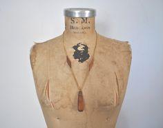 BOHO 1970s Necklace / Geometric wood pendant by badbabyvintage on Etsy