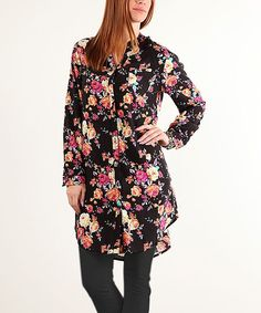 Black Floral Button-Down Tunic