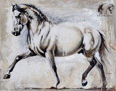 """Élise Genest Art et Chevaux Abanico XVIII 16x20"""" Disponible"""
