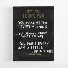 Best Quality Unrivaled Personalized Gifts at Red Envelope via http://www.AmericasMall.com/redenvelope-gifts This is an adorable way to remind each other of why you love them!! :) personalized I love you chalkboard from RedEnvelope.com #redenvelope #gifts #personalizedgifts