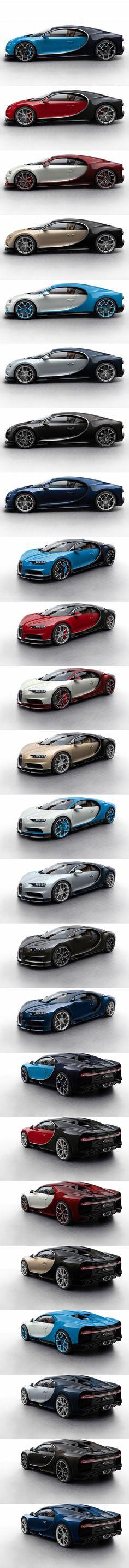 2016 Bugatti Chiron configurator / France / blue red black white brown silver