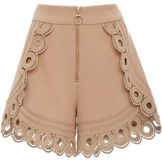 Self Portrait Lace-Trimmed High-Rise Shorts ($340) ❤ liked on Polyvore featuring shorts, bottoms, short, skirts, nude, high waisted scalloped shorts, scalloped lace shorts, scalloped edge shorts, scallop hem shorts and lacy shorts