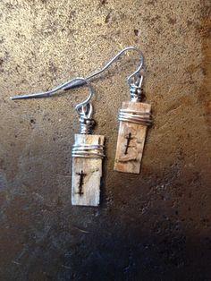 Birch bark earrings w/copper-filled silver
