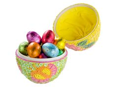 Godiva Easter Beaded Egg with 15 Little Filled Eggs  Celebrate Spring and discover Godivas exquisite Belgian chocolate with this opulenty beaded, egg-shaped keepsake box. Filled with assorted Godivas precious charmingly fresh Easter eggs, this gift box represents the ideal present to impress your family and friends.