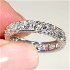 Vintage French Retro 3.8ctw Diamond Eternity Ring in Platinum c.1940 from vsterling on Ruby Lane