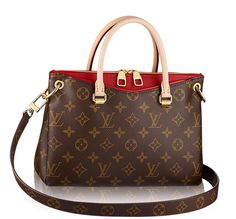 Louis Vuitton Pallas BB with red accent.