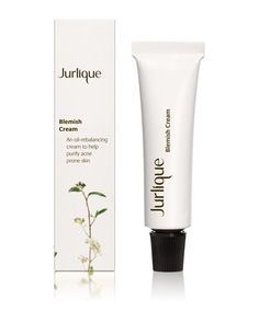 Jurlique's natural blemish cream combines witch hazel and tea tree oil help to help cleanse and control oil on the skin. Bonus: It has a subtle tint to it, so it can also act as a cover-up.   Jurlique Blemish Cream