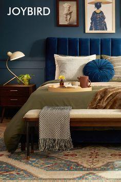 Bedroom Color Schemes, Bedroom Colors, Bedroom Decor, Home Studio, Home Renovation, Master Bedroom Design, Smitten Kitchen, Blue Bedroom, Home Decor Furniture