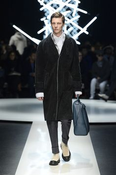 Leather raw-edge coat featuring loden effect, striped wool pants, calfskin holdall with asymmetric zip #CanaliFW15 #mfw #moda #menswear #FW15 #coat