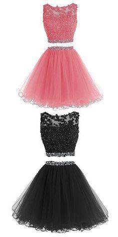 Two Pieces Prom Dresses Applique Short Homecoming Dresses ,homecoming dress,Prom dress
