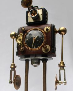 Archibald Found Object Robot by BuchWorks on Etsy