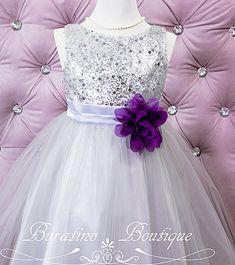 Flower Gitl dress, Christmas dress, Wedding, Special Occasion Flower girl, sequin Silver Girl Toddler Dress (ets0155sv)