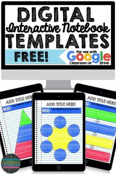 Imagine engaging Interactive Notebooks without all the coloring, cutting, and gluing! Try these FREE Digital Interactive Notebook Templates! You can customize them to use with any subject and any grade. Over 30 Teaching Technology, Teaching Resources, Teaching Ideas, Technology Integration, Teaching Biology, Digital Technology, Educational Technology, Google Classroom, Classroom Ideas