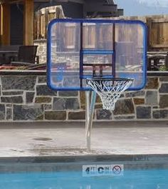 Dunnrite Junior Clear Stainless Combo Swimming Pool Basketball Hoop And Volleyball Set Dunnrite