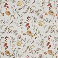 Grove Auburn  100% Cotton  Approx. 140cm | 64cm  Curtaining Curtain Fabric, Curtains, Stuart Graham, Forest Fruits, All Design, Spring Time, Woodland, Birds, Quilts