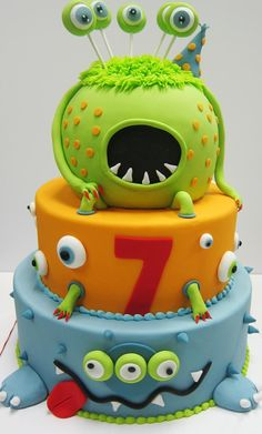 This is such an amazingly fun cake. Looking at this cake just makes me smile. There may be slight variations present due to the individual cake designer's uniqueness abilities. Sonic Birthday Cake, Monster Birthday Cakes, Little Monster Birthday, Monster 1st Birthdays, Monster Birthday Parties, Halloween Photo Booth Props, Little Monster Party, Thomas Birthday, Individual Cakes