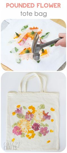 Did you know that you can dye fabric by pounding flowers? This unique craft project makes a perfect Mother's Day gift - and the kids will love creating it! Kids Crafts, Crafts To Make, Craft Projects, Arts And Crafts, Kids Diy, Craft Tutorials, Project Ideas, Diy Tote Bag, Tote Bags