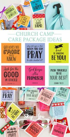 Summer Camp Care Package Idea {FREE printable tags}, Diy And Crafts, Free gift tags to print at home and pair with small treats for summer camp campers. Girls Camp Gifts, Gifts For Kids, Camp Care Packages, Secret Sister Gifts, Church Camp, Free Printable Tags, Little Presents, Camping Gifts, Religious Gifts