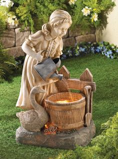 Garden fountains add a distinct element of elegance. Wall fountains are perfect for gardens, patios, or balconies. Indoor and Outdoor garden fountains and decor. Statue Art, Garden Water Fountains, Water Gardens, Indoor Waterfall, Tabletop Fountain, Water Lighting, Light Water, Water Water, Water Features In The Garden