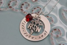 Items similar to Personalized Nurse Necklace-RN Jewelry-Nurse Jewelry-Personalized Hand Stamped-Sterling Silver Nurses Necklace on Etsy Cute Nurse, Nurse Love, Rn Nurse, Nurse Jewelry, Stylish Alphabets, Nursing Supplies, Charms Swarovski, Cute Necklace, Stamped Jewelry