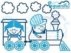 Pequenilos: Niño y niña viajando en tren