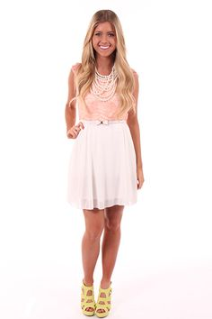 Lime Lush Boutique - Peach and Ivory Lace Dress with Bow Belt , $44.99 (http://www.limelush.com/peach-and-ivory-lace-dress-with-bow-belt/)