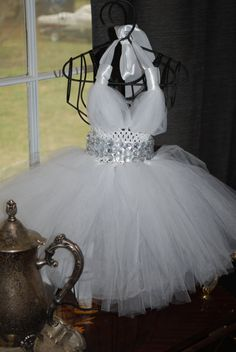 White+Pagent+Tulle+Dress+with+Diamond+Gem+by+HammasHeavenlyGifts,+$50.00