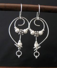 Artisan Free Form Metal Earrings, Sterling Silver Wire, Beads