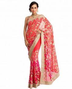 Meena Bazaar Red georgette, gorgeous ombre Saree Rs.29,980 @ http://WeddingShop.BigIndianWedding.com/ #Desi #IndianWedding eStore