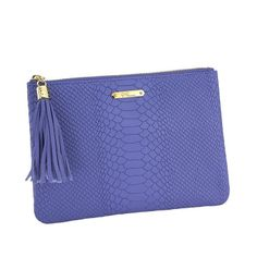 """GIGI IRIS ALL IN ONE BAG - EMBOSSED PYTHON Fashionable clutch, yet slim enough to slip into your favorite purse, All in One Bag is the ideal everyday pouch. Full-Grain Embossed Python Leather Top zipper closure Signature gold tassel cap Handcrafted Personalization available up to 3 initials Initials stamped to match hardware Size: 9"""" W x 7"""" H"""