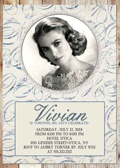 Vintage Photo Elegant Birthday Invitation - For Any Age - Digital File - 4 Styles to Choose From 90th Birthday Invitations, 85th Birthday, 90th Birthday Parties, Birthday Ideas, Anniversary Songs, Happy Anniversary, Elegant Invitations, Custom Photo, Party Ideas