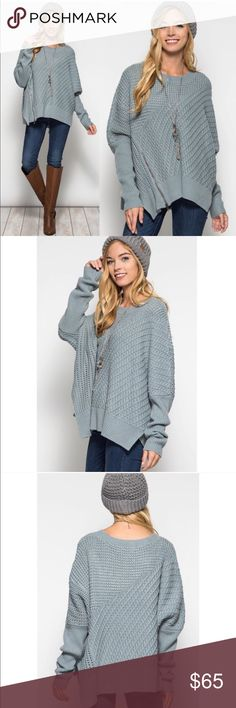 """XX EMIKO long sleeve oversize sweater - SLATE BLUE Long sleeve oversized sweater w/front side zipper detail.   ONE SIZE: fits S-L   ALSO AVAILABLE IN LIGHT GREY.  Material content: 65%COTTON 35% soft ACRYLIC   *MODEL IS 5'7""""   NO TRADE   PRICE FIRM Bellanblue Sweaters"""