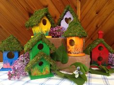 Hand Painted small birdhouses by tidysparky on Etsy, $45.00