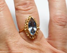 Sale, 18K Yellow Gold Marquis Cut Blue CZ Ring, Size 8, Vintage 1990s, Signed