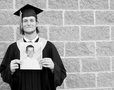 Graduation pictures.  Kindergarten to High School Graduate.   I'll print this and have him hold it on his College Grad day to capture the whole journey.