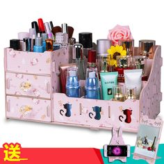 1Pcs New Style DIY wood box  Brush Holder Jewelry Organizer Boxes Makeup Cosmetic Storage Box Case #Affiliate