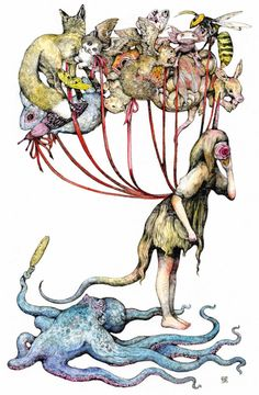 (あやしいもの 十選)(7)ヒグチユウコ「Mirror 風船」 国文学者 田中貴子 :日本経済新聞