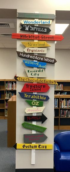 Library Sign - located at Whitestone Elementary, Leander, Texas School Library Decor, School Library Displays, Middle School Libraries, Elementary School Library, Library Wall, Library Books, Elementary Library Decorations, Educacion Intercultural, Library Signage