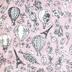 Sew Paree - Paris Fancy Pink - Loralie Design - 1 yard - More Available by BywaterFabric on Etsy