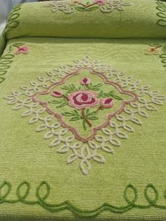 vintage cotton chenille bedspread, lime green w/ pink & yellow roses
