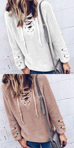 Lace-up V-neck Leisurely Fashion Women s Sweater for big sale!  sweater 8b888fa0b