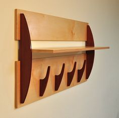 Modern Wall Shelf with 4 Hooks Cantilevered Shelf in by FunToBuild, $232.00