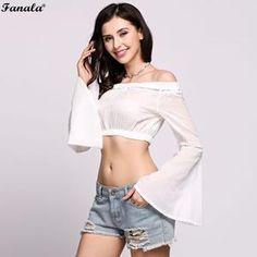0d3dac3b46 FANALA Women T-Shirt Crop Top 2018 Fashion Sexy Slash Neck Full Flare  Sleeve Cropped