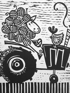 sheep driving tractor  childrens orginal by katiejardineART