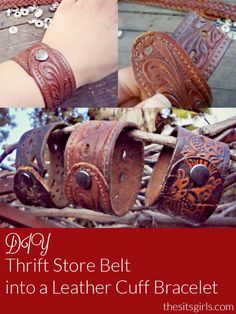 How to make a cool leather cuff bracelet out of belts you can buy cheaply at the thrift store, or you can repurpose a belt you are no longer using. DIY Tutorial.