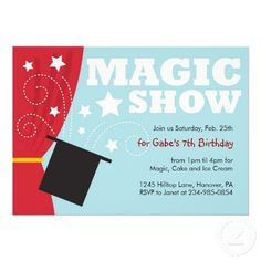Shop Magic Show Birthday Party Invitations created by NanandMimis. Holiday Invitations, Engagement Party Invitations, Birthday Party Invitations, Custom Invitations, Invitation Cards, Birthday Parties, Birthday Ideas, Invites, Funny Christmas Poems