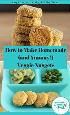 Make a healthy toddler dinner that your kids will love with these super easy veggie nuggets. (They reheat well from frozen too!) #toddlerdinner #toddlermeal #veggienuggets